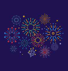 colorful fireworks festive christmas pyrotechnics vector image