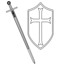 Crusaders sword and shield outline vector