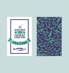 culinar courses seafood seamless pattern and vector image