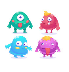 cute cartoon monsters characters set vector image