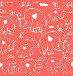 cute elephants seamless pattern print design vector image