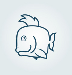 cute fish character outline cut out silhouette vector image