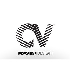 Cv c v lines letter design with creative elegant vector