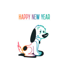 dog with colored linesdog symbol of chinese new vector image