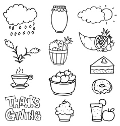 Doodle of thanksgiving collection stock vector image