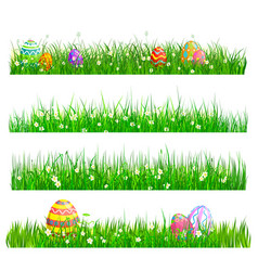 easter eggs hunting green grass with painted eggs vector image