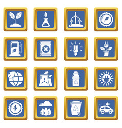 ecology icons set blue square vector image