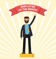 Employee of the month character on winners podium vector