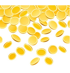 falling golden coins isolated on white vector image