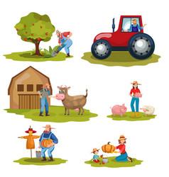 farming flat set vector image