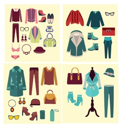 Fashion set flat fashion clothes and accessories vector
