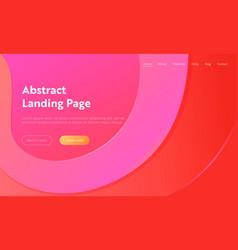 geometrical pink wave shape landing page vector image