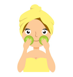 girl doing cucumber mask portrait flat cartoon vector image