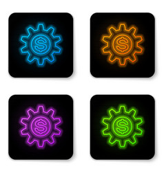 glowing neon gear with dollar symbol icon vector image