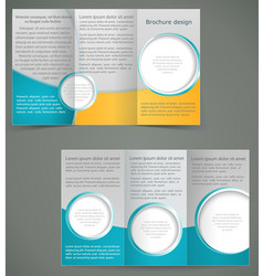 green brochure layout design with yellow elements vector image