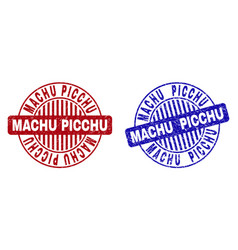 Grunge machu picchu scratched round stamps vector