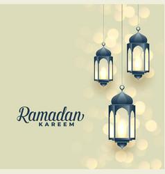 Hanging islamic lamps ramadan kareem festival vector