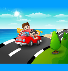 happy family riding a car i vector image