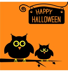 Happy Halloween cute owls card vector