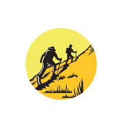 Hikers Hiking Up Steep Trail Circle Woodcut vector image