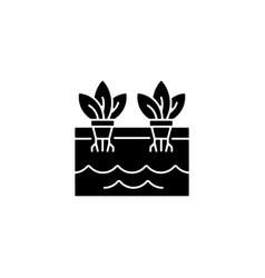 Hydroponics black glyph icon vector