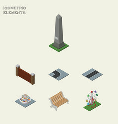 isometric city set of recreation barrier dc vector image