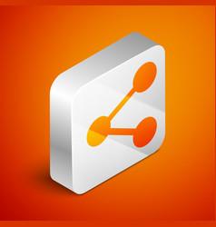 Isometric share icon isolated on orange background vector