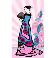 Japanese vertical background geisha vector image