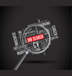 Job search word background magnifying glass vector