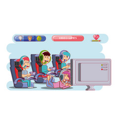 Kids playing with video game console vector