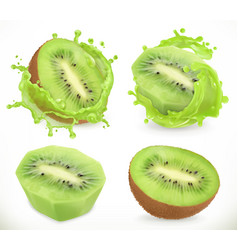 Kiwi fruit juice fresh fruits and splash 3d vector