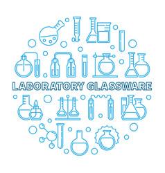 Laboratory glassware concept round line vector