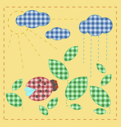Ladybug in leaves plaid textile applique vector