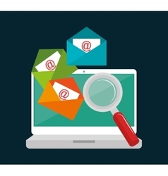 laptop email searching data icon design vector image