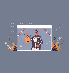 man wearing skeleton costume happy halloween party vector image