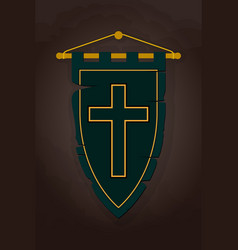 medieval pennant flag with christian cross torn vector image