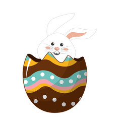 Nice rabbit inside of decotive egg vector