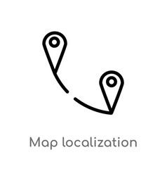 Outline map localization icon isolated black vector