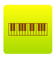 Piano keyboard sign brown icon at green vector