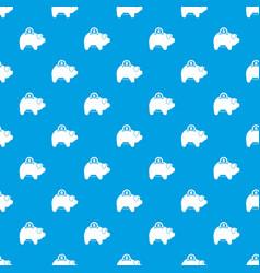 Pig money box pattern seamless blue vector