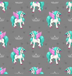 Pretty unicorn seamless pattern for girls with vector