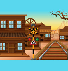 Railroad in western town vector