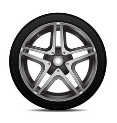 Realistic car tire wheel alloy with tire vector