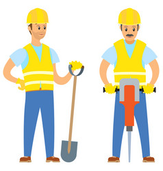 Repairmen with shovel and jackhammer work vector