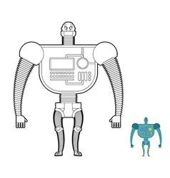 Retro Robot Warrior coloring book Toy for boys vector image