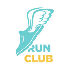 Run club icon of sport sneaker shoe and vector