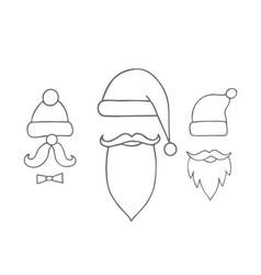 santa hats moustache and beards christmas vector image