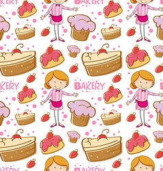 Seamless baker and cakes vector