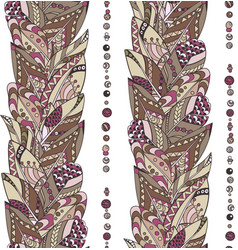 seamless feathers and beads vertical pattern in vector image