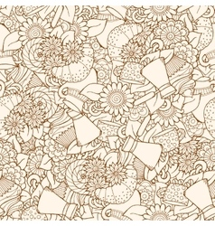 Seamless tea and coffee doodle pattern with vector